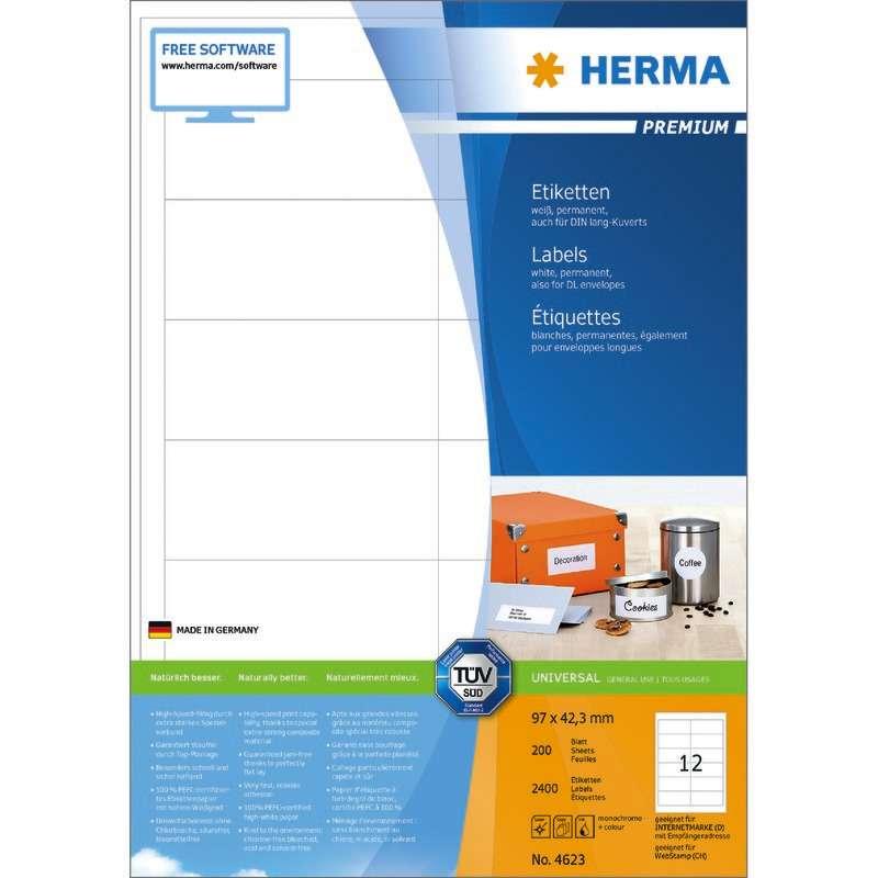 Vielzwecketiketten weiß 8x12 mm Movables//ablösbar Papier matt 38 Herma